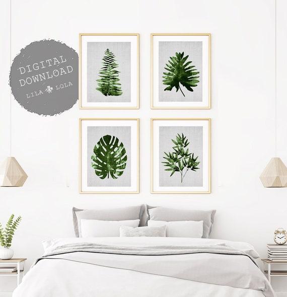 Botanical Print Set, Leaf Wall Art, Set of 4, Printable Digital Download, Tropical Leaf Print Set, Monstera, Bamboo, Fern , Palm, Modern