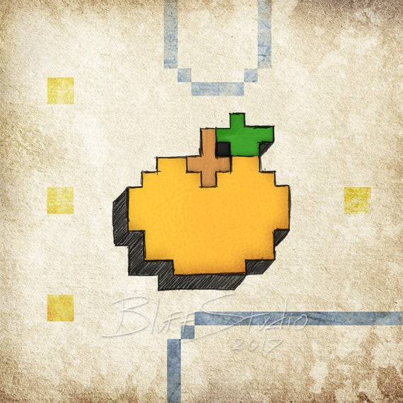 Pac Man Orange 8 bit video game art retro gaming wall