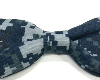 Navy DigiCam Bow Tie for Dog Collar