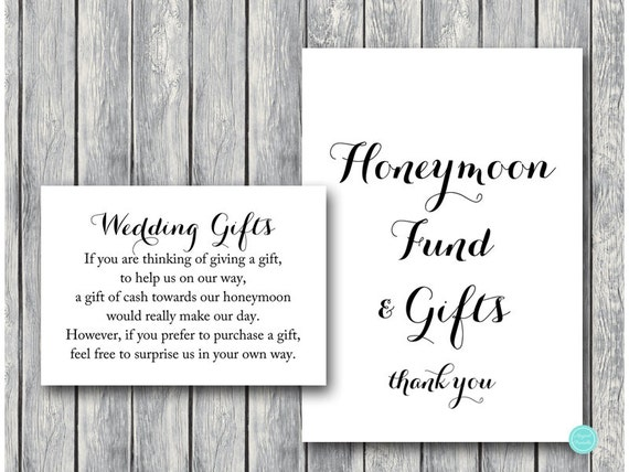 Wedding Gift Wording For Honeymoon: Wedding Gift Honeymoon Fund Card And Sign Cash Towards