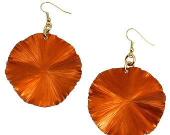 10 Year Anniversary Gift Large Orange Aluminum Leaf Earrings 10th Anniversary Gift For Her Ten Year Anniversary Gift Aluminum Anniversary