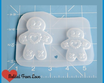 SALE 2 Small Voo Doo Doll Gingerbread Boys  Plastic Resin Mold