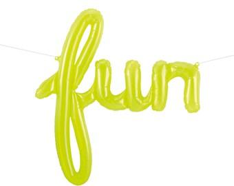Fun Balloon Banner - Lime Green Clear