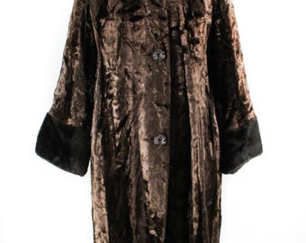 XL Faux Fur Coat - 1950s 1960s Dark Brown Sheared Beaver Look with Mink Style Faux Collar & Cuffs - Plus Size Winter - Bust up to 46 - 49989