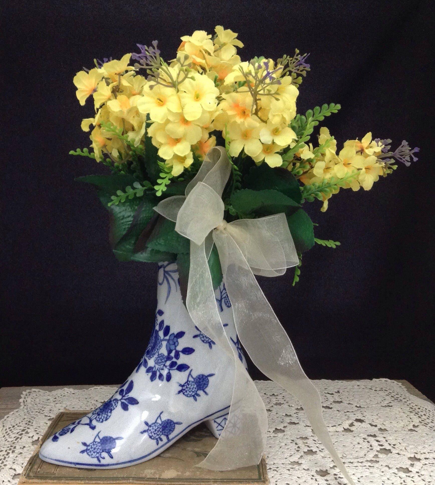 Ceramic boot vase ceramic boot planter yellow flower zoom reviewsmspy