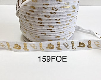 "3 or 5 yard - 5/8"" Gold Gold Cowboy Boot and Hat on White Fold Over Elastic Headband Hair Accessories"