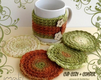 Cup cozy and Coaster CROCHET PATTERN set! Coaster crochet pattern! Mug cozy crochet pattern! Permission to sell finished items.