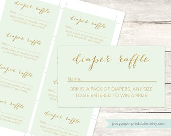 diaper raffle tickets printable baby shower DIY mint green gold glitter diaper raffle gender neutral digital shower games - INSTANT DOWNLOAD