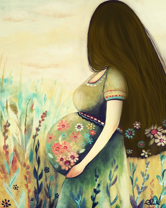 Pregnant expecting  woman art print  with brown hair