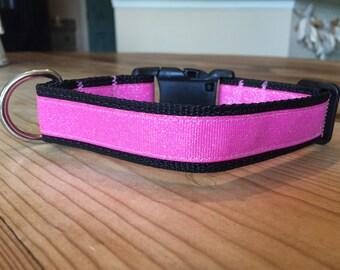 Pink Shimmer Collar on Black Adjustable
