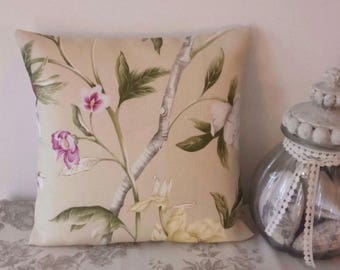 Linen pillow cover design Zoffany garden 40 x 40 cm leaves Shabby flowers