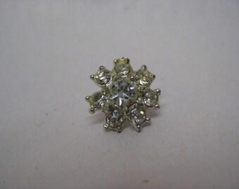 Flower Rhinestone Clear Tie Tack Lapel Pin Silver Vintage