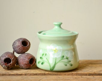 Handmade Pastel Green Stoneware Sugar Bowl with Removable Lid