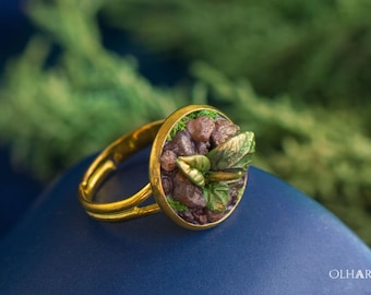 Plant Ring, Polymer Clay, Spring Sprout, Gilded Ring with Sprout and Stones, Leaves Ring, Nature Jewelry, Spring Gift, Gift for Beloved