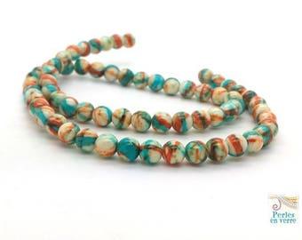 jade 6mm turquoise and orange brick (pg230) 20 beads