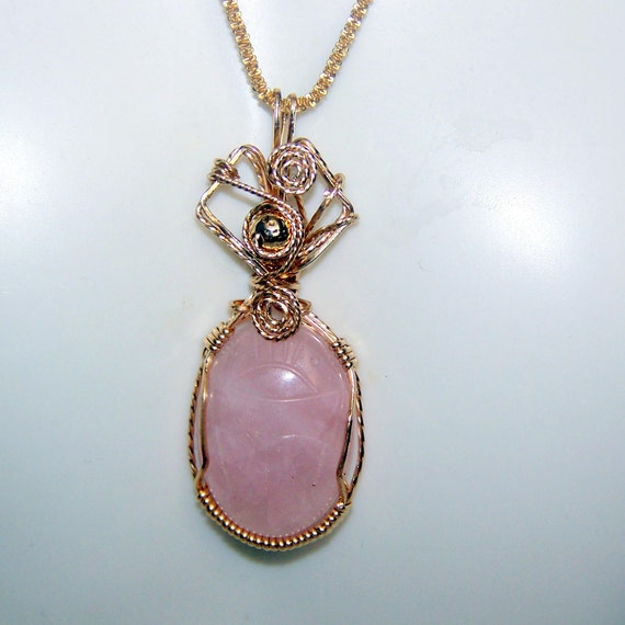 Egyptian pendants kerryhowarddesigns egyptian scarab rose quartz pendant 19 cts genuine carved gemstone wire wrap 14k gold filled setting aloadofball Image collections