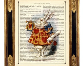 Alice in Wonderland Art Print The White Rabbit Trumpet Hearts - Vintage Victorian Dictionary Book Page Nursery Art Print Steampunk color