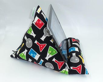"""Tablet, Kindle or Book Bean Bag iPad holder travel stand beanbag """"Science Fair"""" hand made by Joella Hill Australian Seller"""