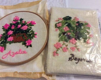 Vintage handmade Embroidered Picture of a Pink Azalea in Basket and Begonia, Embroidery Hoop with Hand Stitched Art Work