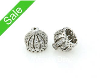 30% OFF, Silver Crown Tassel Cap, CZ Micro Pave Finding, Cubic Zirconia Pave on Copper Cap, 10mm, 13mm, Pkg of 1 PCS, F0MU.SI06.P01