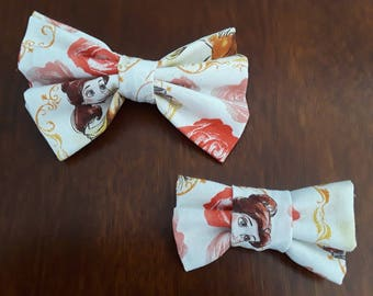 "Princess Belle Little Girl and 18"" Doll Hair Bows"