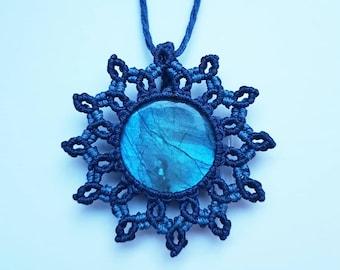 Macrame Jewelry, Labradorite Macrame Necklace, Labradorite Macrame Jewelry, Labradorite Jewelry, Blue Macrame Necklace