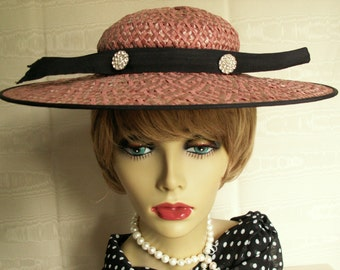 Vintage Ladies Hat * Bonwit Teller * Pink & Navy * Saucer Style * Cruise  Weddings, Showers, Luncheons, Derby, Prom, Graduation, Holidays