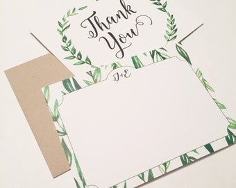 Rustic Laurel Wreath Thank You Cards **envelopes included**