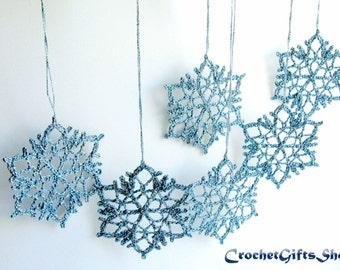 Crochet PATTERNS Christmas Snowflake Ornaments PDF Pattern Instant Download Lace snowflakes Decoration Home Decor