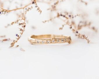 14k gold diamond encrusted twig wedding band, diamond twig wedding band, sparkly stacking band