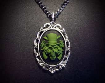 SALE Green Skeleton Cameo Necklace with Guns and Roses