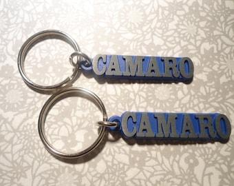 2 Blue Gunmetal Camaro Key Rings Key Chains