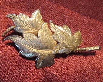 Vintage Gold Triple Leaf Brooch