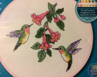 Dimensions Hummingbird Duo Counted Cross Stitch Embroidery Kit Fiber Art Kit  Embroidery Fiber Art Finished Size 6 inches