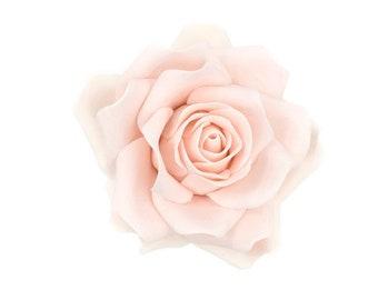 Large Blush Rose Sugar Flower Gumpaste Rose for Modern Wedding Cake Toppers, Cake Decor, DIY Weddings