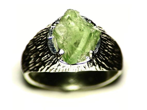Mens Peridot Ring Size 105 40 ct Raw Peridot Ring Silver