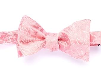 Self-tie reversible bowtie light pink flower brocarde, selftie silk bow tie for men, adult, classic suit, wedding and groomsmen, graduation