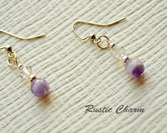 Amethyst Crystal Hook Dangle Earrings February Birthstone Earrings, available with sterling silver hooks