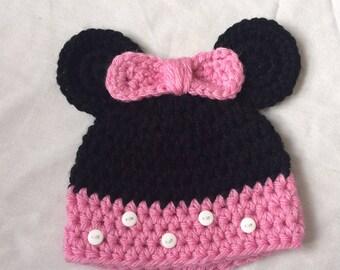0-3 months crocheted minnie hat