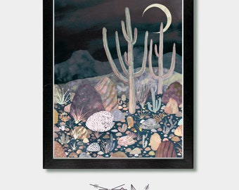 Fox Print. Moon's Light. Wolf, Fox and Cactus, Kitsune, Cactus Print, Cactus Decor, Fox Wall Art, Laundry Room Decor, Desert, Coyote