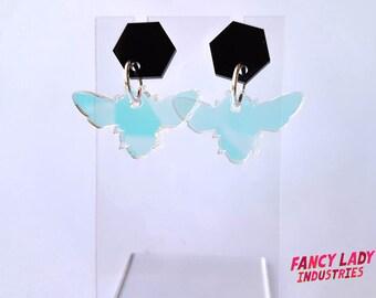 Ghost Bee Earrings, Iridescent Acrylic Earrings, Dangle Earrings