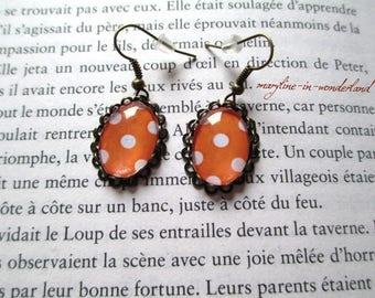 Earrings cabochon orange polka dot