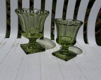 Fluted Avocado Green Glass Footed Grecian Style Planters Set of Two ~ Shabby Chic
