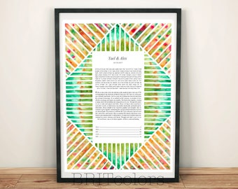 Watercolor Ketubah, Tribe Ketubah, Colorful Pattern Ketubah, Jewish wedding, Modern Ketubah, Watercolor Wedding Vows, Geometric Ketubah