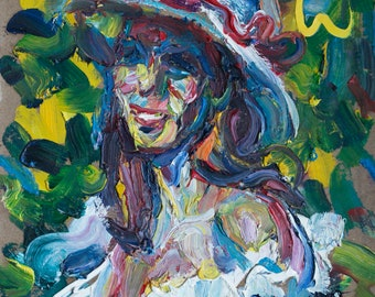 Lucky. Original oil painting. Expression portrait of the woman