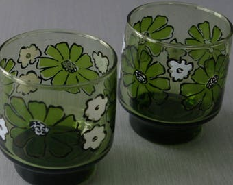 2 Vintage Libbey Daisy Footed Drinking Glasses Green Flowers Tumbler 1960 MOD