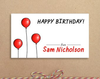 Balloon Calling Cards - Balloon Gift Tags - Party Tags - Favor Tags - Balloon Gift Card - Personalized Gift Tags
