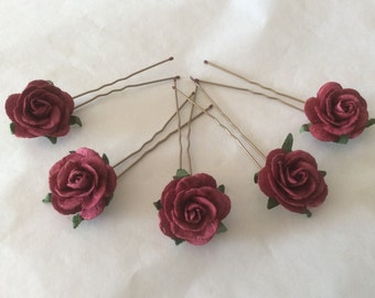 Hair Pins x 5 Paper Roses. Dark Red/Wine. Bridal, Regency, Victorian.