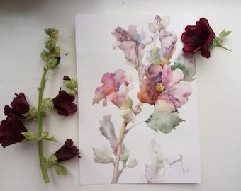 Floral Fine Art Watercolor Painting Purple Mallow Hollyhock Flower Art - Original Watercolour Home Decor Botanical illustration