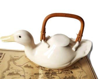 Rare Vintage Duck Tea Pot /70s 2-3 Cup Stoneware Teapot / White Porcelain Asian Duck